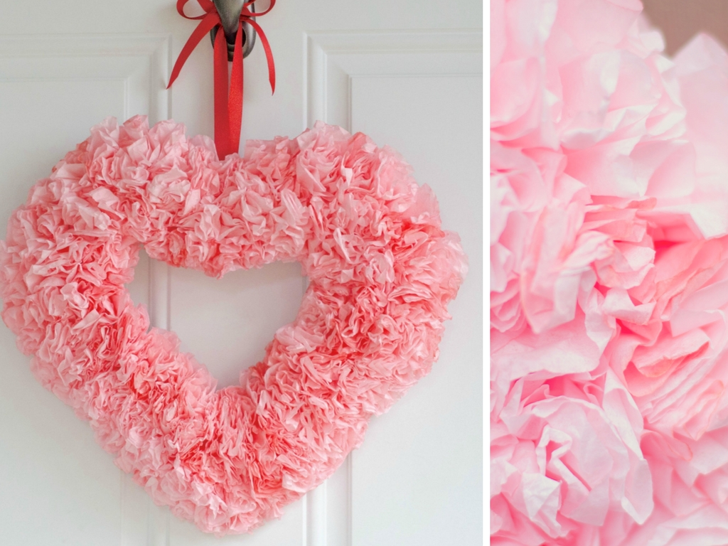 Coffee Filter Heart Wreath with Close-up Of Flower Detail
