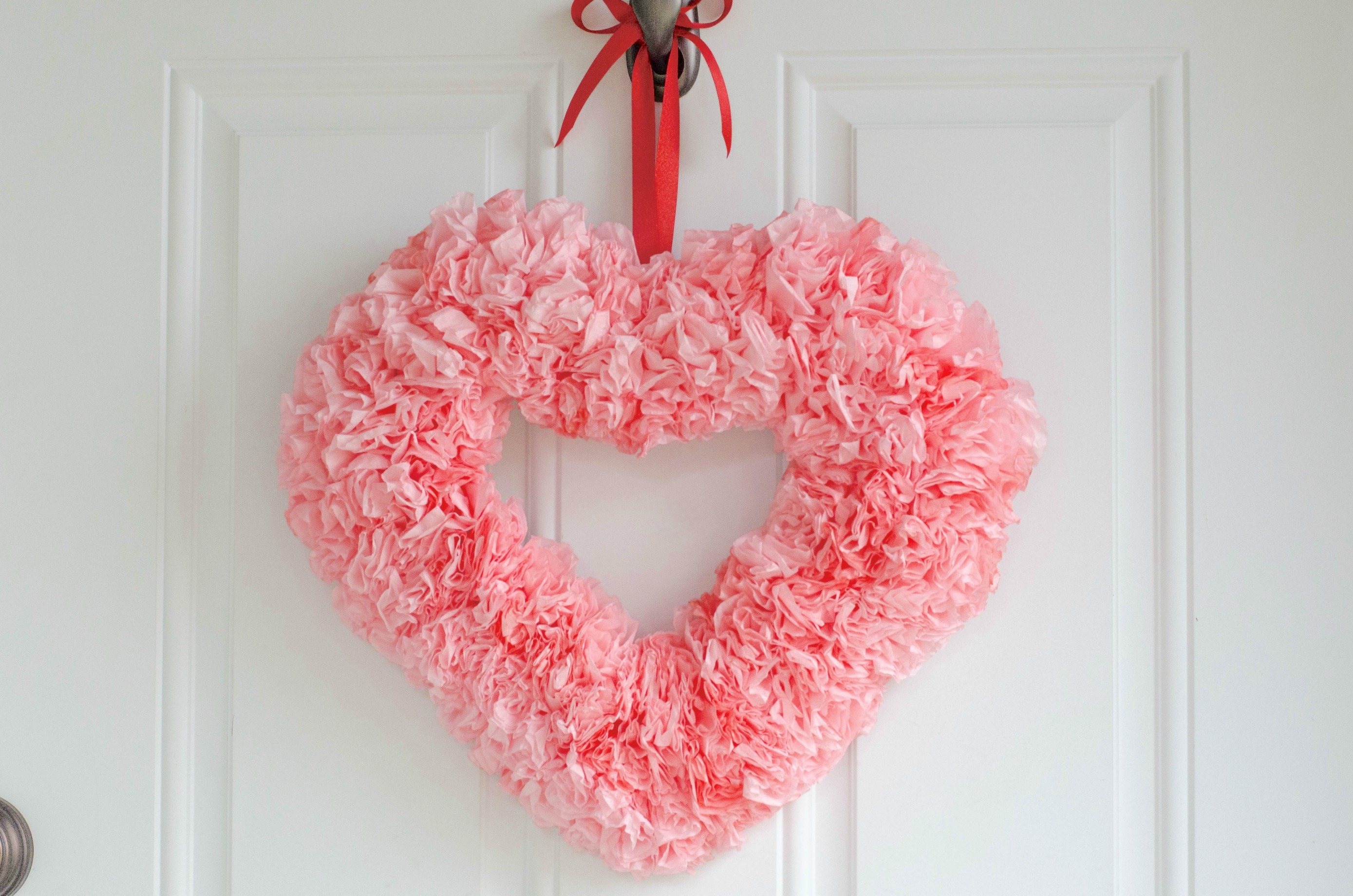 Coffee Filter Heart Wreath - perfect for Valentine's Day!