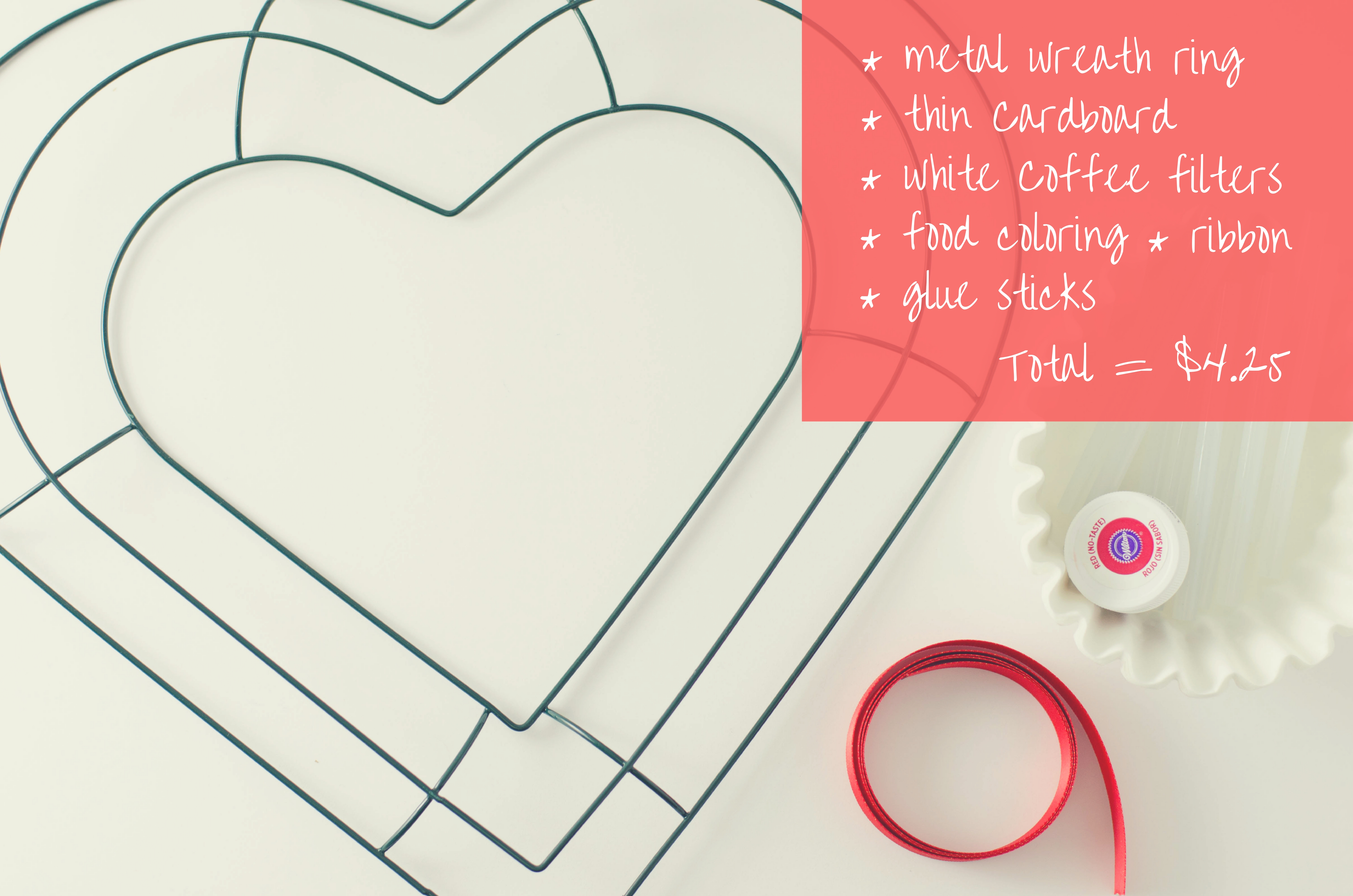 Supplies for coffee filter heart wreath